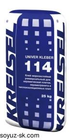 Univer Kleber 114. Универсальный морозостойкий клей для крепления керамической плиитки, керамогранита и теплоизоляционных плит из пенополистирола и минеральной ваты